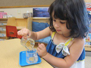 Pouring work develops concentration and hand-eye coordination.